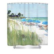 Blue Beach Umbrellas, Crescent Beach, Siesta Key - Wide Shower Curtain