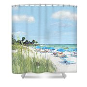 Blue Beach Umbrellas, Point Of Rocks, Crescent Beach, Siesta Key Shower Curtain