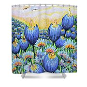 Blue Belles Shower Curtain