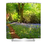Blue Bells  Flower Shower Curtain