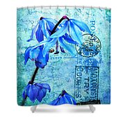 Blue Bells On Vintage 1936 Postcard Shower Curtain