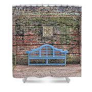 Blue Bench Shower Curtain