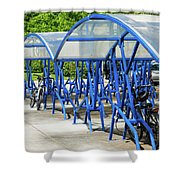 Blue Bicycle Berth Shower Curtain