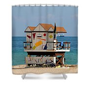 Blue Bicycle Shower Curtain