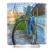 Blue Bike Shower Curtain