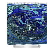 Blue Bird Abstract Shower Curtain