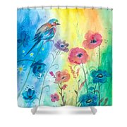 Blue Bird And Flowers Shower Curtain