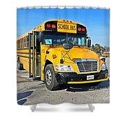Blue Bird Vision School Bus Shower Curtain
