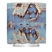 Blue Birdhouse  Shower Curtain