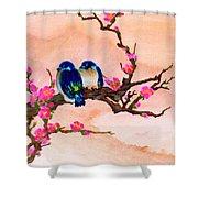 Blue Birds And Plum Blossoms #48 Shower Curtain