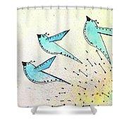 Blue Birds In Flight Shower Curtain