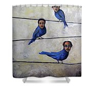 Blue Birds Shower Curtain
