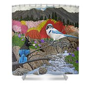 Blue Birds Shower Curtain