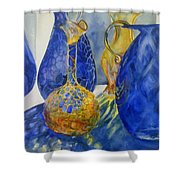 Blue Blenko Shower Curtain