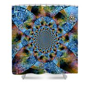 Blue Bling Shower Curtain