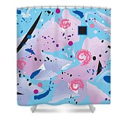 Blue Blue Abstract Shower Curtain