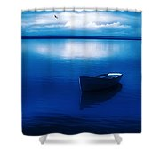 Blue Blue Boat Shower Curtain