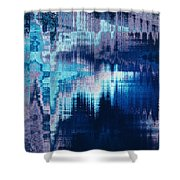 blue blurred abstract background texture with horizontal stripes. glitches, distortion on the screen broadcast digital TV satellite channels Shower Curtain