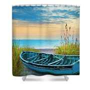 Blue Boat At Dawn Watercolors Painting Shower Curtain