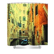 Blue Boat In Venice  Shower Curtain
