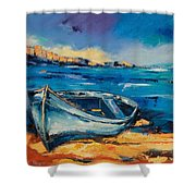 Blue Boat On The Mediterranean Beach Shower Curtain