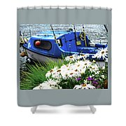 Blue Boat With Daisies Shower Curtain