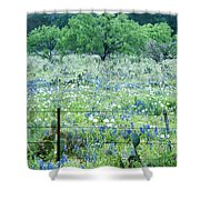 Blue Bonnets,poppies And Willow Tree 2 Shower Curtain