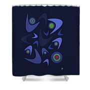Blue Boomerangs Shower Curtain