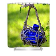 Small Blue Bottle Garden Art Shower Curtain