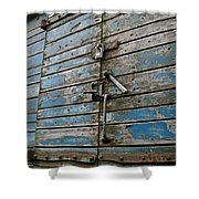 Blue Boxcar Shower Curtain