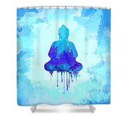 Blue Buddha Watercolor Painting Shower Curtain