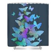 Blue Butterfly Flutter Shower Curtain