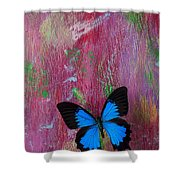 Blue Butterfly On Colorful Wooden Wall Shower Curtain