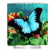 Blue Butterfly On Lantana Plant Oil Painting Shower Curtain