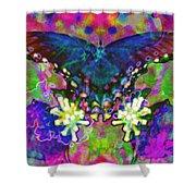 Blue Butterfly Pop Shower Curtain