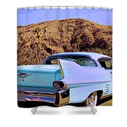 Blue Cadillac Shower Curtain