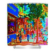 Blue Cafe In Springtime Shower Curtain