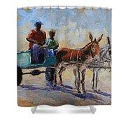 Blue Cart Shower Curtain