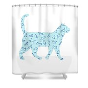 Blue Cat Cat Shower Curtain