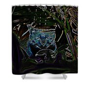 Blue Cat In The Garden Shower Curtain