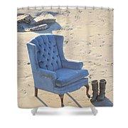Blue Chair Shower Curtain