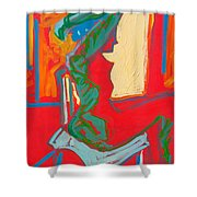 Blue Chair Study Shower Curtain