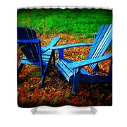 Blue Chairs Shower Curtain