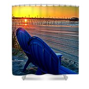 Blue Chairs Pier Sunrise Shower Curtain