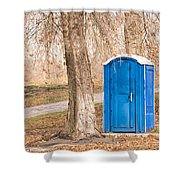 Blue Chemical Toilet In The Park Shower Curtain