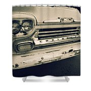 Blue Chevy Truck Grill Bw Shower Curtain