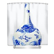 Blue  Chinese Chinoiserie Pottery Vase No 5 Shower Curtain