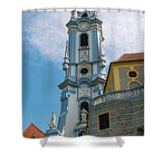 Blue Church Tower In Durnstein Shower Curtain