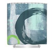 Blue Circles 2- Art By Linda Woods Shower Curtain