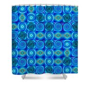 Blue Circles Abstract Art By Sharon Cummings Shower Curtain